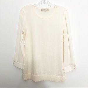 Loft Sweater with Sheer Sleeves Cream Off White M